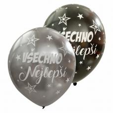 Balóny všechno nejlepší strieborné + čierne