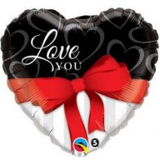 Balón Q Love You Red Ribbon