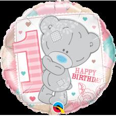 Balón číslo 1 narodeniny macko Tinny Tatty 1st dievča