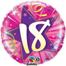 Balón fóliový čislo 18 Shining Star Bright pink Q