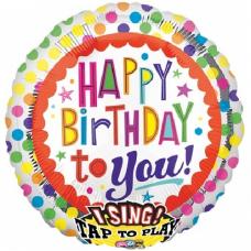 Spievajúci balón Happy Birthday bodky
