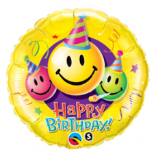 Balón Smajlík Happy Birthday / BDay Smiley Faces