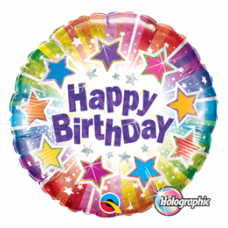 Balón Happy Birtday hviezdy / BDay Radiant Stars