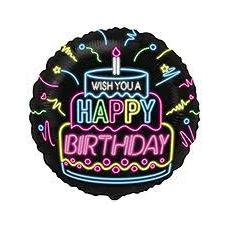 Balón Happy Birthday neon