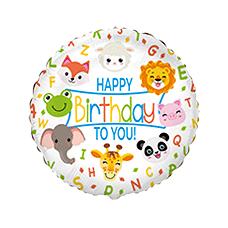 Balón Zvieratká Happy Birthday