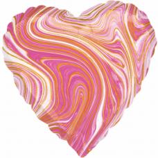 Balón fóliový srdce mramor ružové