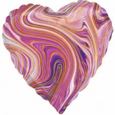 Balón fóliový srdce mramor fialové