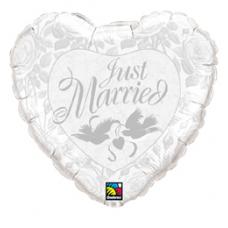 Balón svadobný Just Married biele