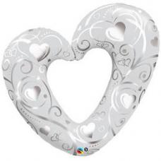 Balón Srdiečko biele Q Hearts & Filigree Pearl