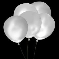 Svietiace balóny BIELE s bielym svetlom 5 ks