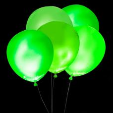 Svietiace balóny ZELENÉ s bielym LED svetlom 5 ks