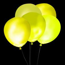 Svietiace balóny ŽLTÉ s bielym LED svetlom 5 ks