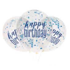 Priehľadné balóny s konfetami Happy Birthday Modré 6 ks
