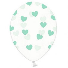 Priehľadné balóny so srdiečkami mint 6ks