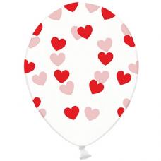 Priehľadné balóny so srdiečkami červené 6ks