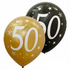 Balóny číslo 50 zlaté + čierne metalické