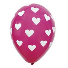 Balóny so srdiečkami tmavo ružové 5 ks