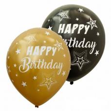 Balóny Happy Birthday zlaté + čierne