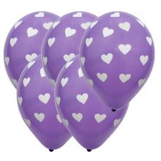 Balóny so srdiečkami fialové 5 ks