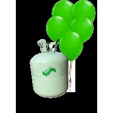Hélium B50 na 50 bal. + 50 ks balónov - zelené