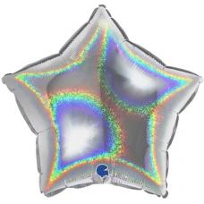 Balón Hviezda Strieborná hologr. 45 cm