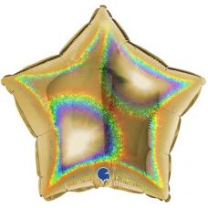 Balón Hviezda zlatá hologr. 45 cm
