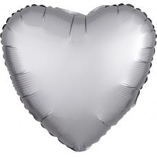 Balón Srdce strieborné saténové 45 cm