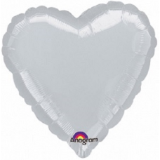 Balón Srdce 45 cm strieborné
