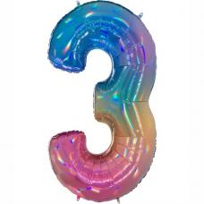 Balón Číslo 3 dúha maxi