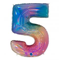 Balón Číslo 5 dúha maxi