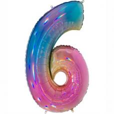 Balón Číslo 6 dúha maxi