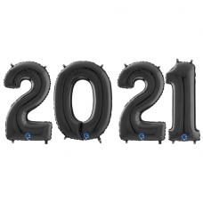 Novoročné číslo 2021 čierne 66 cm