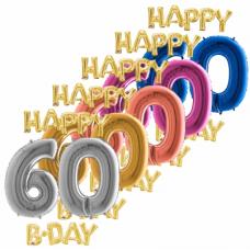 Balón číslo 60 Happy B Day zlaté