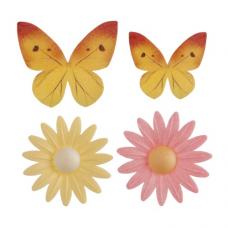 Cukrová dekorácia Motýľ a Margarétka 8 ks