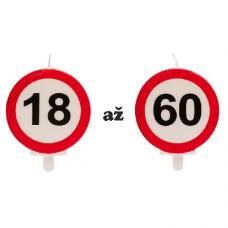 Sviečka s číslom Dopravná značka