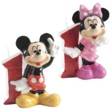 Tortová sviečka Mickey a Minnie Mouse číslo 1