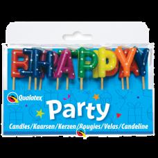 Sviečky Happy B´day Q mix bodky