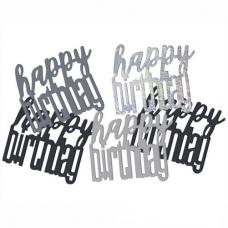Konfety sypané Happy Birthday čierne