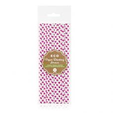 Papierové slamky so srdiečkami ECO