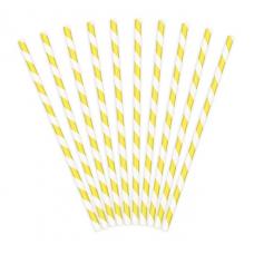 Papierové slamky žlté Pásiky /10ks/