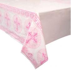Obrus s krížikom ružový