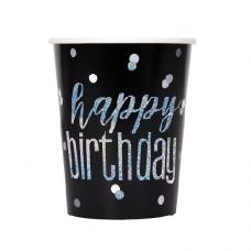 Poháre Happy Birthday čierne