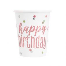 Poháre Happy Birthday biele