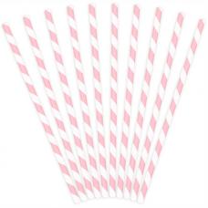 Papierové slamky ružová Pásiky