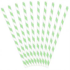 Papierové slamky bledo zelené pásiky