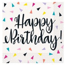 Servítky Happy Birthday trojuholníky