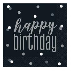 Servítky čierne Happy Birthday