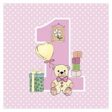 Servítky 1.narodeniny ružové