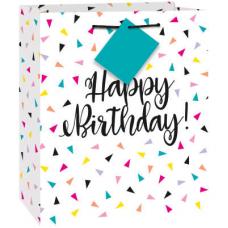 Darčeková taška Happy Birthday trojuhoľníky