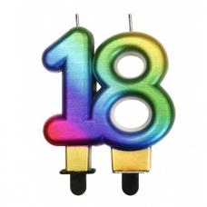 Sviečka číslo 18 metalická